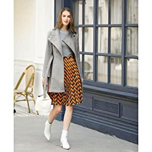 Women's Classic Stand Collar Long Sleeve Winter Belted Long Coat
