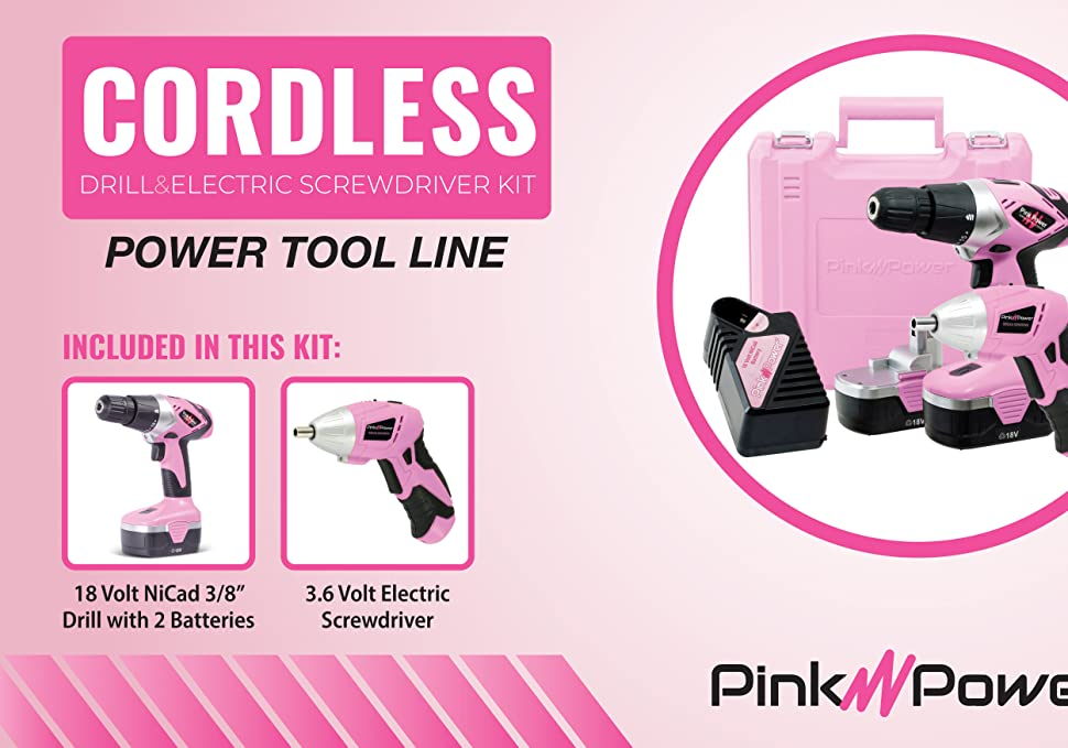 Pink Power Screwdriver and Drill Kit