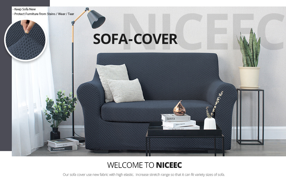 two piece grey sofa cover