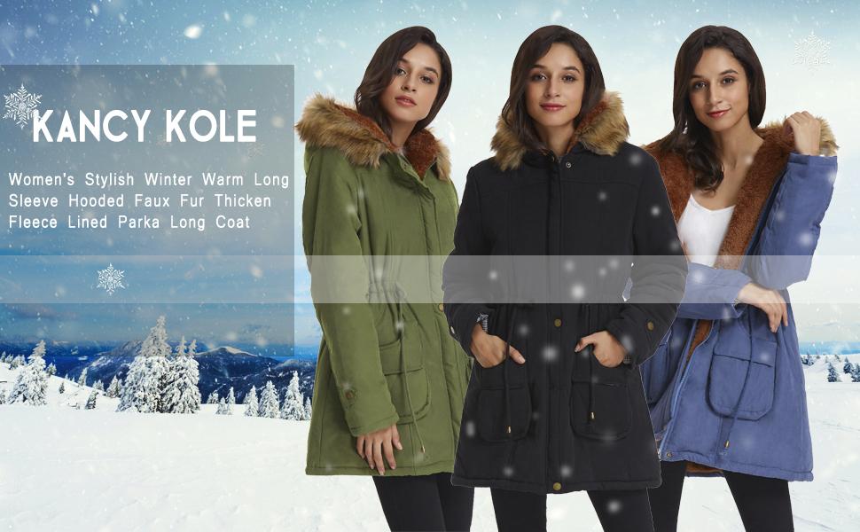 Abrigo largo de mujer con capucha de piel sintética cálida espesa Fleece Parkas para invierno
