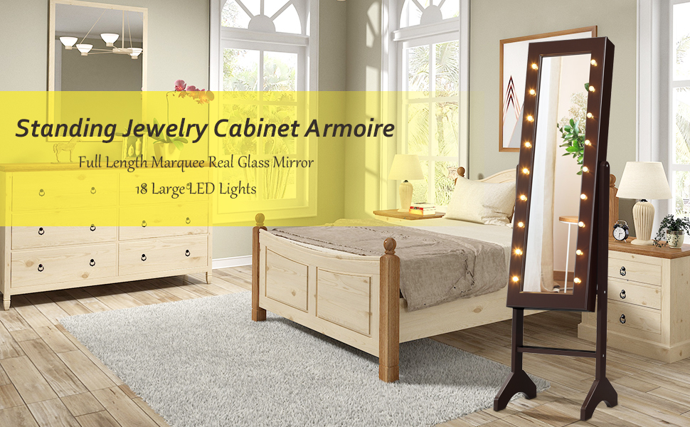 Giantex 18 LEDs Jewelry Cabinet with Mirror