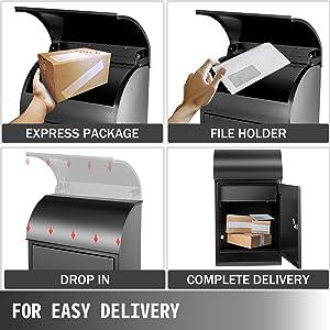 black mailbox wall mount