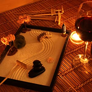 Office Decoration Decor Relax & Unwind Zen Stones Rakes Sand Cherry Blossom Pagoda Bridge Moss