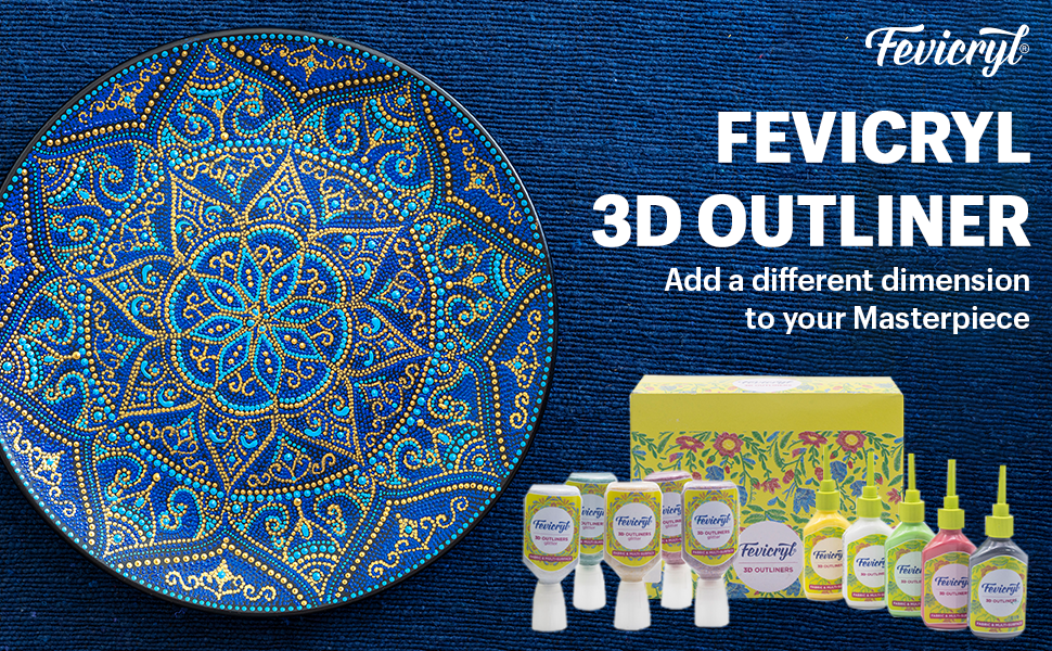 Fevicryl 3D Fabric & multi-surface outliner Kit