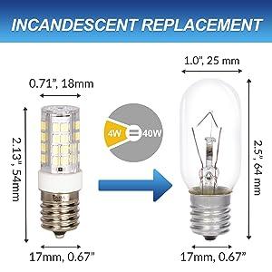 incandescent replacement led 4w 40w dimensions diameter length comparison