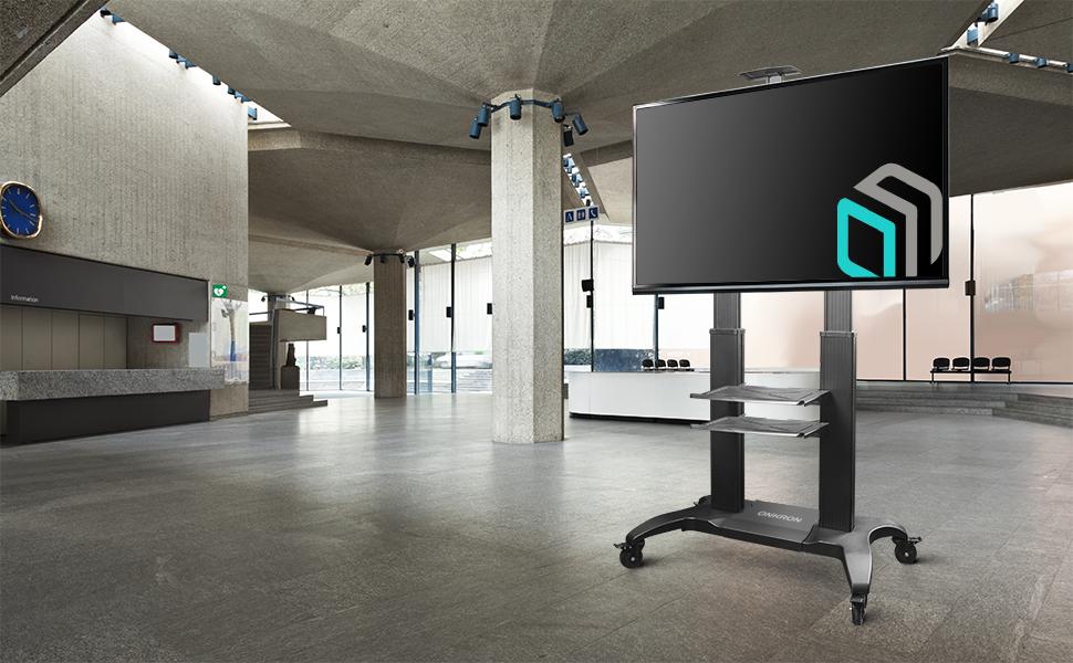 ONKRON TV Mobil Ständer für 60-100 Zoll OLED LCD LED 4K 8K Plasma Bildschirme Höhenverstellbar Rollbar Fernsehtisch TV-Standfuss mit AV-Ablagen VESA 200x200 bis 1000x600 mm TS2811 Schwarz
