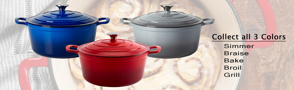 Blue Red Grey Kitchen Cookware Degrees Non Stick Pre Seasoned Heavy Duty Covered Lid induction Stove