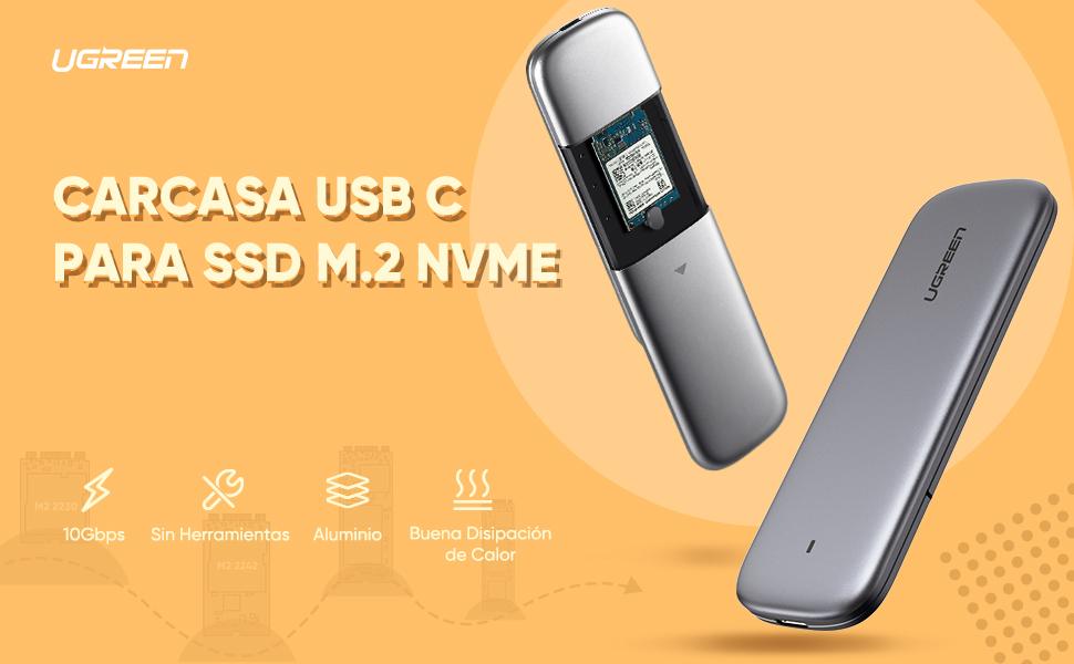 UGREEN Carcasa M.2 NVMe USB C, Caja Externa M.2 NVMe PCIe USB 3.1 con UASP, 10Gbps Carcasa Disco Duro M.2 para SSD M.2 NVMe M Key B+M Key Samsung 970 EVO Plus