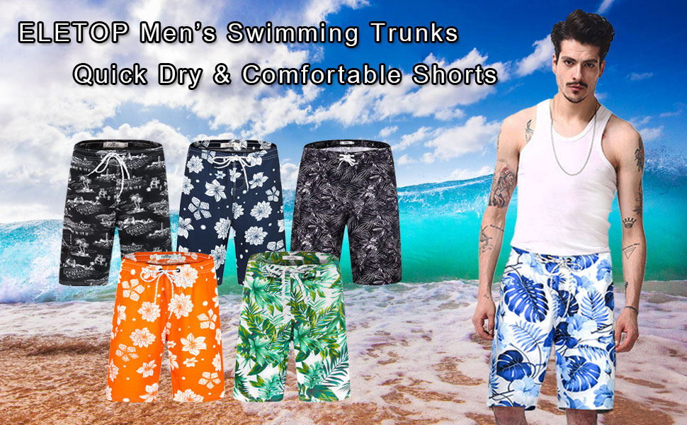 Polyester Leaves Squares Pattern Beachwear with Pockets Xk7@KU Mens Casual Beach Shorts
