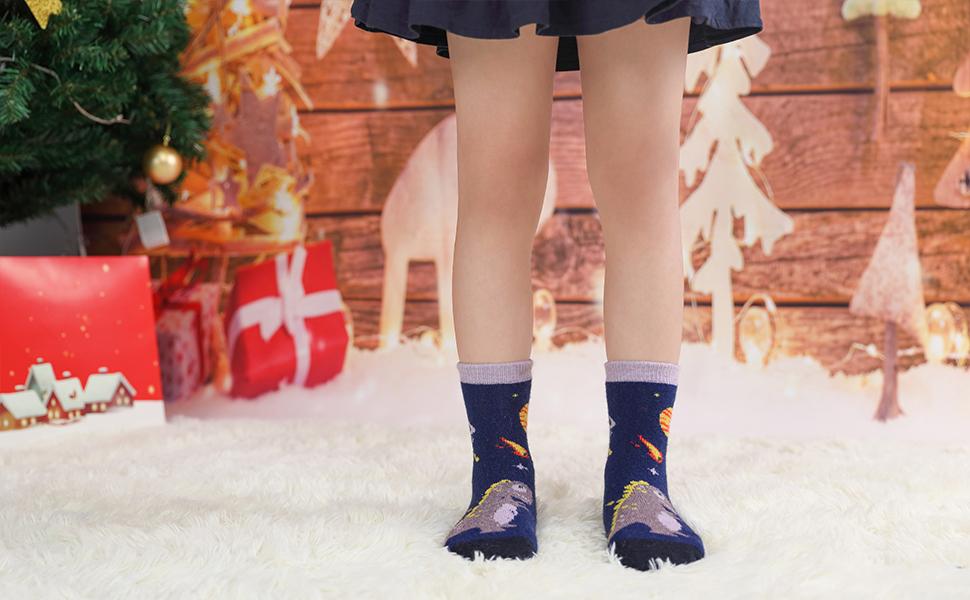 Children's Winter Warm Wool Socks Kids Boys Girls Animal Socks 6 Pairs