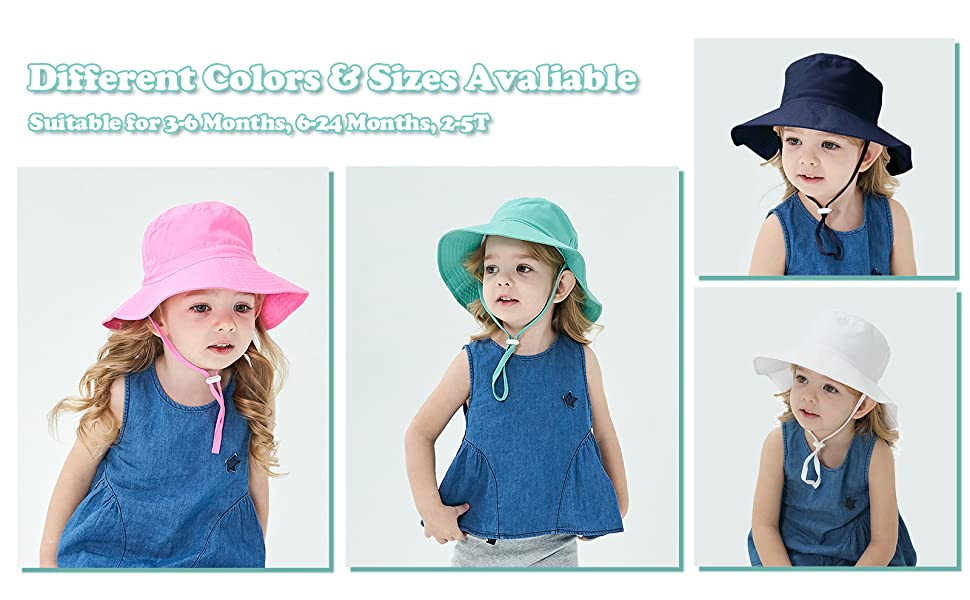 different colors baby sun hats