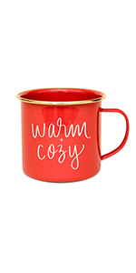 sweet water decor metal campfire coffee mug warm and cozy holiday christmas hot cocoa hand lettered