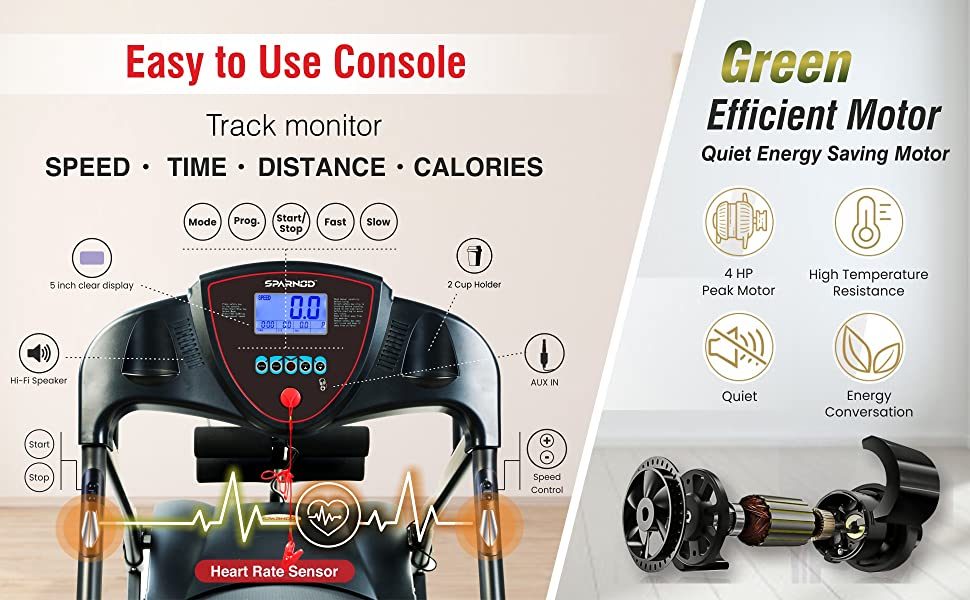 Sparnod Fitness STH-2200 Automatic Foldable Motorized Treadmill Home Use Massager Multifunction