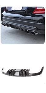 Benz W204 Sport amp; C63 AMG-Bumper Sedan 2008-2011 Carbon Fiber Rear Bumper Lip Diffuser Dual Outlet