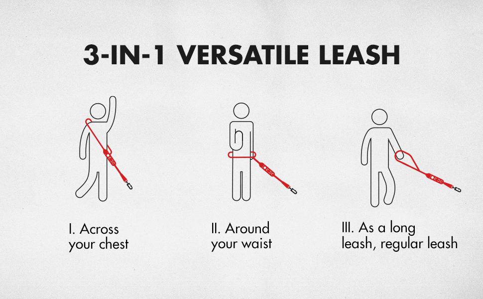 3-in-1 versatile hands-free leash
