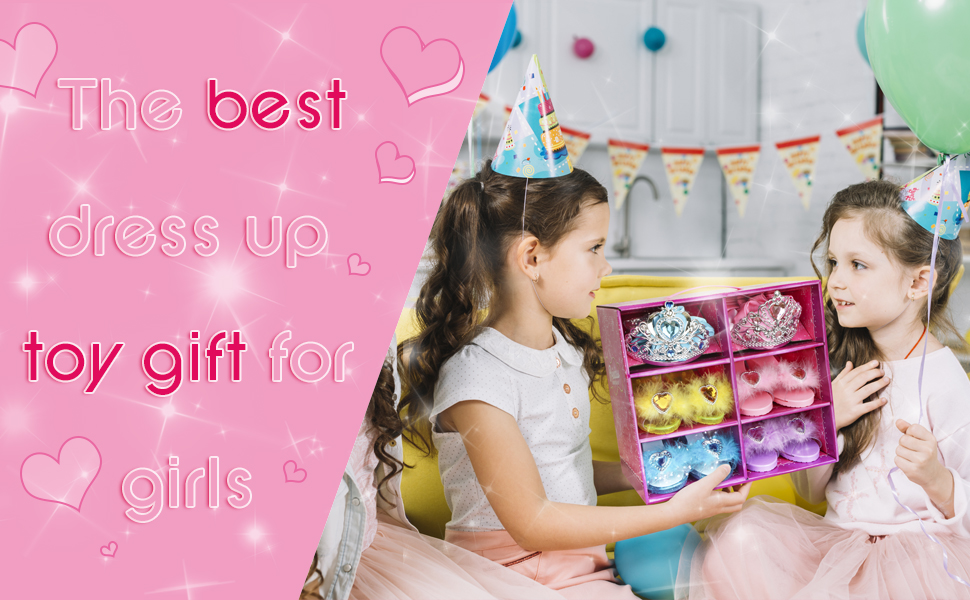 Play Shoes and Pretend Jewelry Toys Princess Accessories Play Gift Set