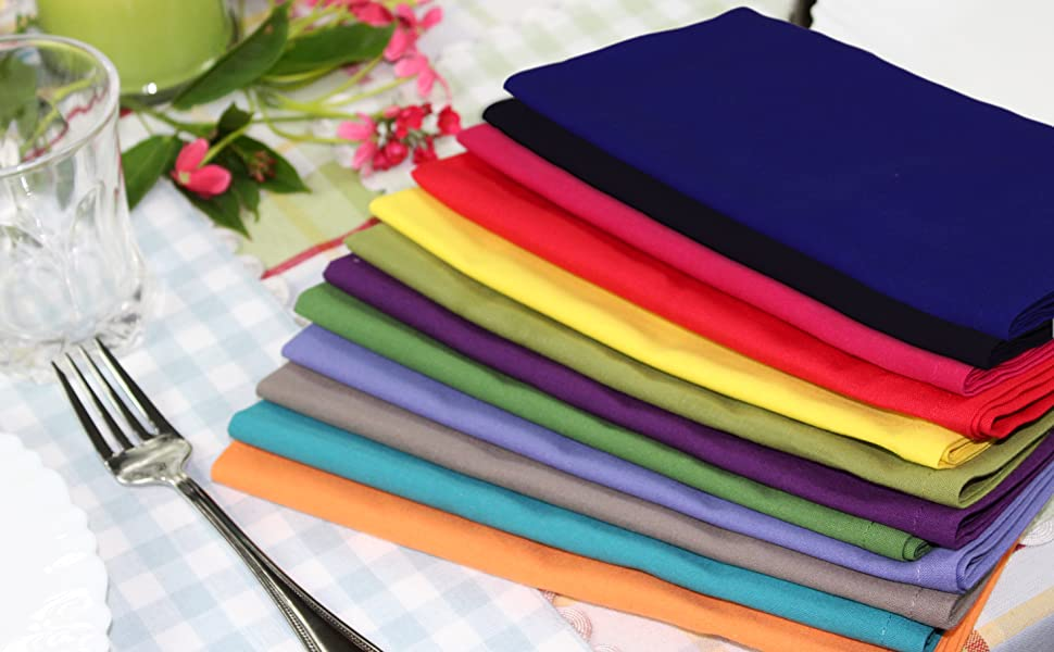 Amazon Com Cotton Craft Classic Cotton Set Of 12 Pure Cotton Solid Color Dinner Napkins 20 Inch X 20 Inch Assorted Colors Multi Pack Home Kitchen