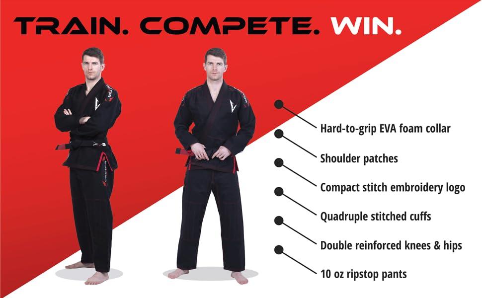 Train | Compete | Win  -Hard-to-grip EVA foam collar -Double reinforced knees amp; hips -Quadruple stit