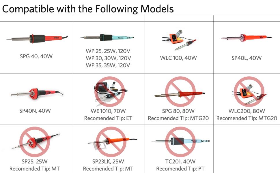 Soldering Iron Tip ST Series for Weller WLC100 WP25//30 SP40L SP40N WP35 5 Shapes