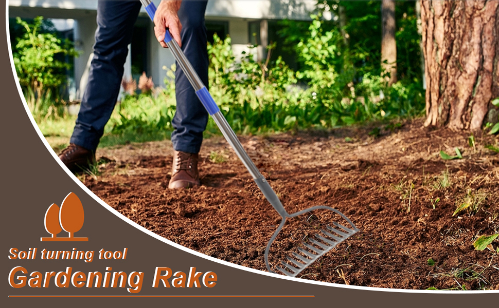 5ft 6ft Lawn rake hay garden metal adjustable heavy duty bow rake grass landscape yard leveling lawn