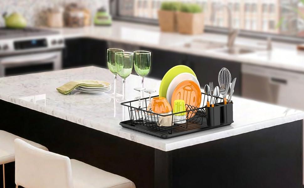 dish drying rack dish drainer with utensil holder