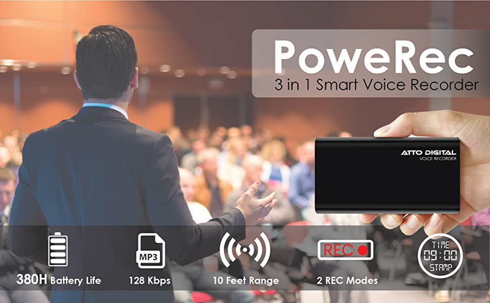 3 in 1 smart voice recorder with strong battery and timestamp. PoweREC is the best value recorder.