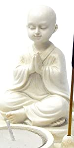 Bellaa 22371 Buddha Statues Incense Burner Votive Tea Light Candle Holder Jizo