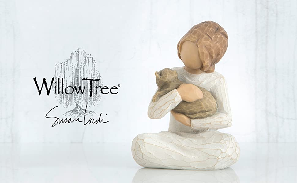 Willow Tree Kindness figure sitting and holding a cat.