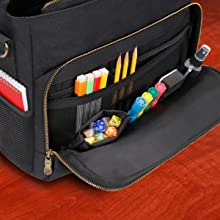 Exterior Pocket for storing dice and accessories
