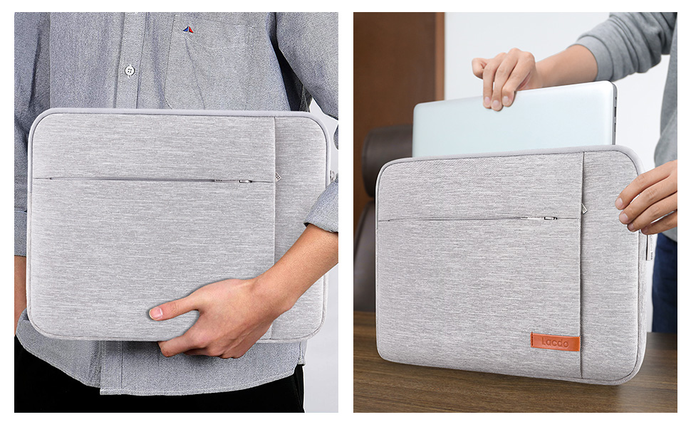 Cobbled Road 13-15 Inch Laptop Sleeve Bag Portable Dual Zipper Case Cover Pouch Holder Pocket Tablet Bag,Water Resistant,Black