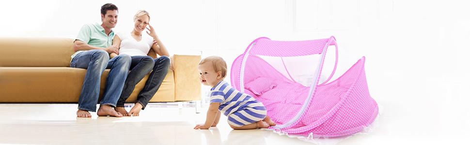 cuna plegable para reci/én nacido para beb/és de 0 a 24 meses en exteriores e interiores LZYMSZ Cama de viaje para beb/é delgada, rosa cuna plegable de verano