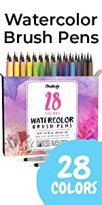 Watercolor Brush Pens - Pack of 28
