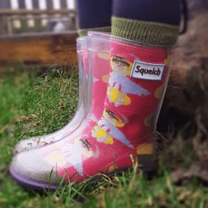 Squelch Washable and Re-usable Childrens Colouring Sock For Ages 1-2 Wellington Rainboots Kids Welly Socks