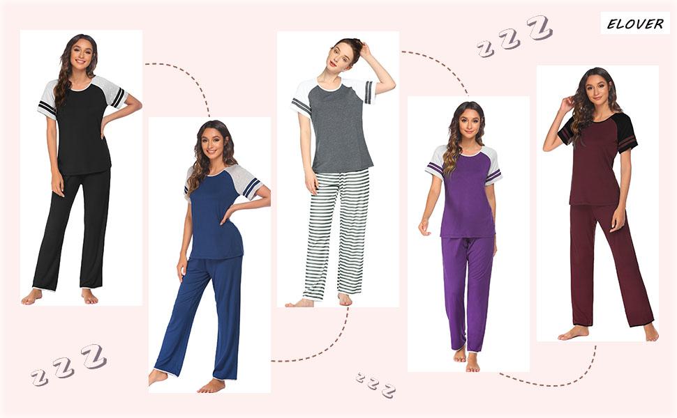 ELOVER Womens Pajamas Set Two-Piece Pj Sets Sleepwear Short Sleeve Top and Pants Cotton Loungewear