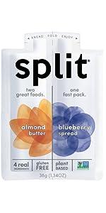 almond butter, blueberry, split, split nutrition, snack, healthy, organic, protein, plant based,