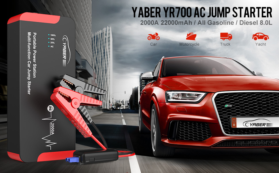 Jump Starter YABER 2000A Peak 22000mAH UltraSafe Portable Car Battery Jump Starter Pack