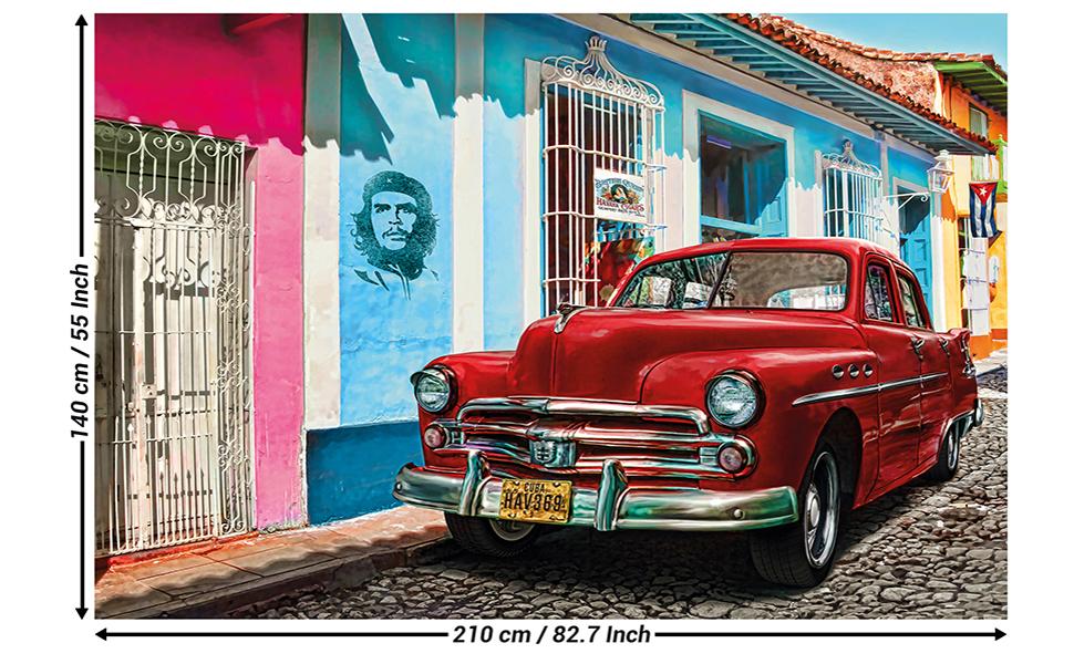 Mural Red Old Timer Car Havanan Street Scene Design Cuban Cars Poster Vehicle Illustration Mural Art Cuba Decoration Photo Wallpaper Wall Decor