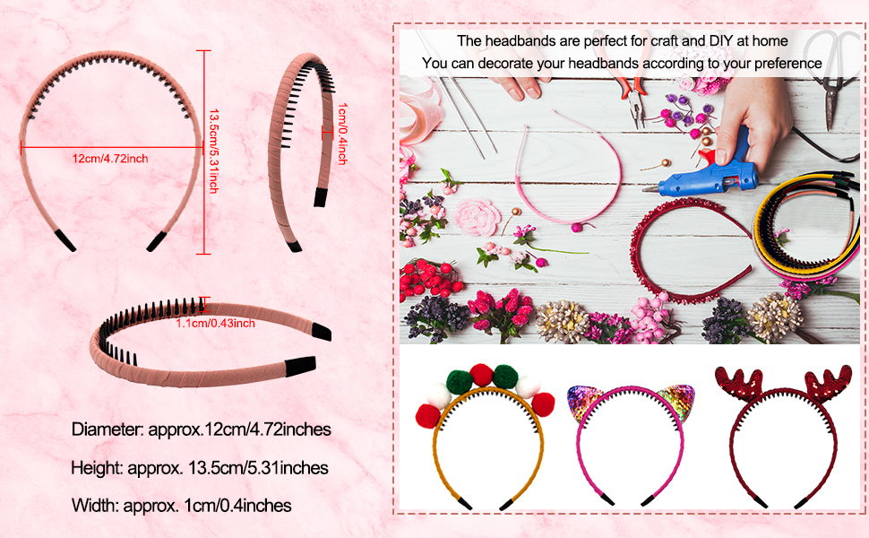 The comb-tooth headbands are perfect for matching with many beautiful accessories, craft and DIY