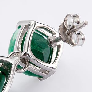emerald, post back, earring