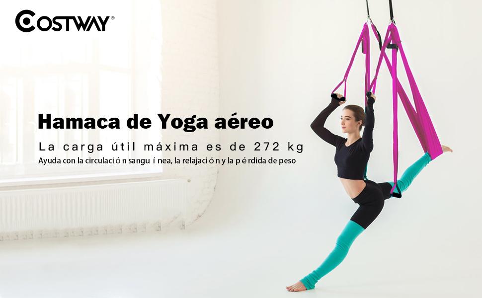 COSTWAY Columpio para Yoga Aéreo Hamaca de Yoga Trapecio ...