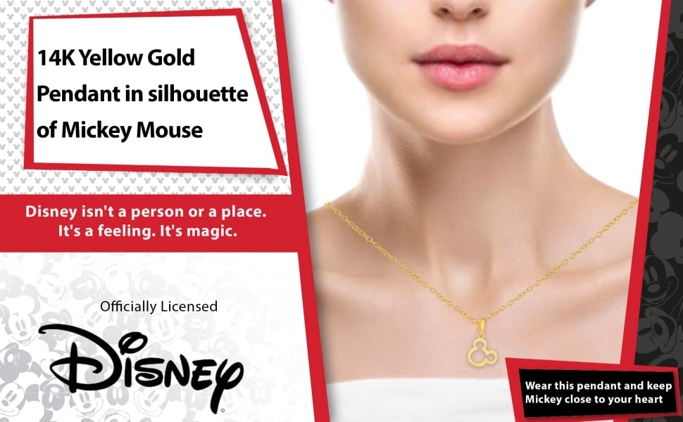 14K Yellow Gold Pendant in silhouette of Mickey Mouse