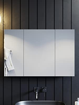 Bathroom Cabinet Mirror Wall Mounted Stainless Steel Modern Storage Cupboard Adjustable Shelves