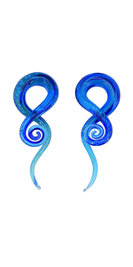 Glass Spiral Tapers Glitter Twist Stretchers Ear Gauges 4g 2g 0g 00g