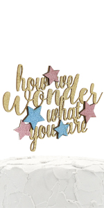 gold how we wonder what you are cake topper with pink and blue stars