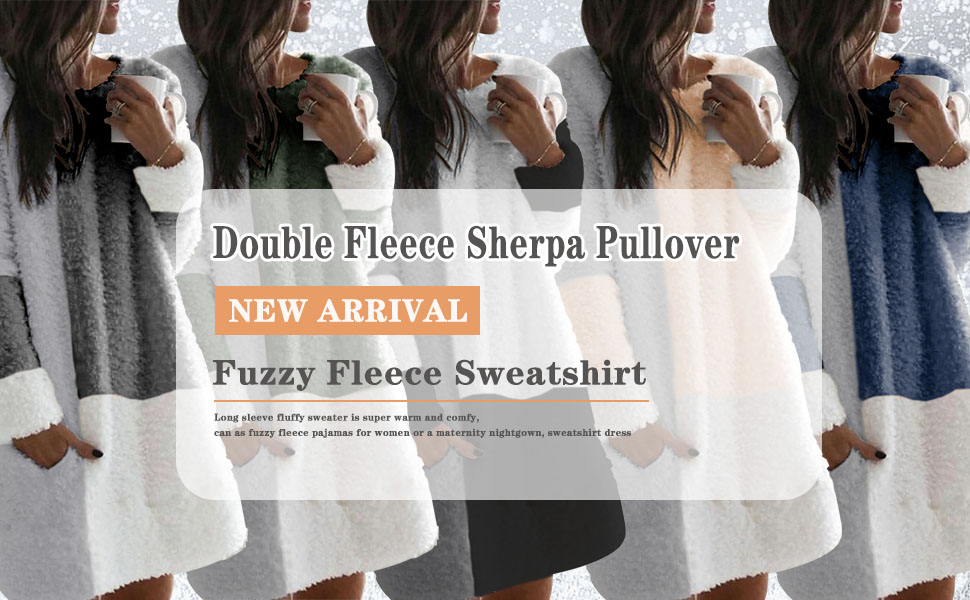 Womens Oversized Sherpa Pullover Hoodie with Pockets Fuzzy Fleece Sweatshirt Fluffy Coat