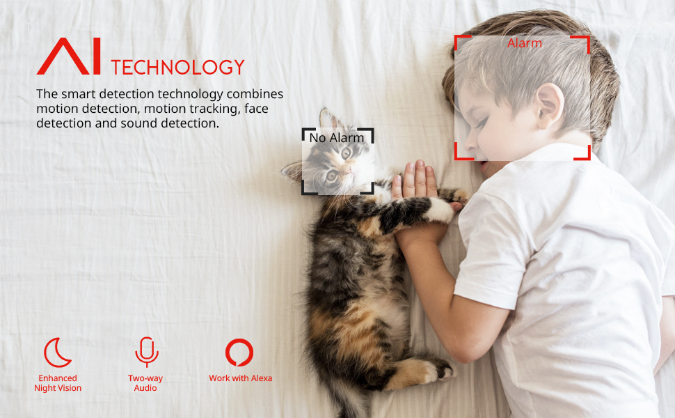 4MP HD Home Security Camera, AI Wifi IP Pet Camera Wireless Baby monitor, dog camera