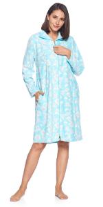 2 Pack Ladies Women Fleece Winterberries Print Long Sleeve Nightdress 2 x Dress