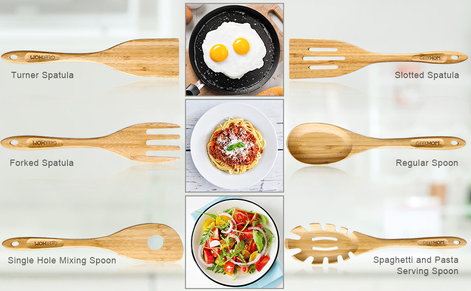 6 Pieces Bamboo Spoons & Spatulas