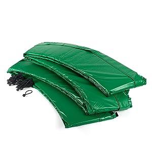 Groene randafdekking met rubberen spanners voor bevestiging geschikt voor trampolines met buitennet.