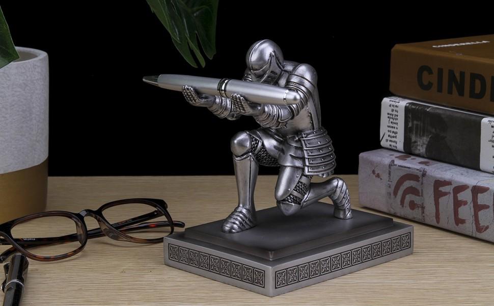 Silver Knight Pen Holder